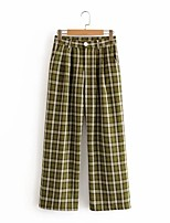 cheap -Men's Women's Basic Streetwear Breathable Cotton Loose Daily Wide Leg Pants Pants Plaid Checkered Full Length Classic Sporty Green