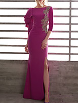 cheap -Mermaid / Trumpet Beautiful Back Sexy Wedding Guest Formal Evening Dress Jewel Neck 3/4 Length Sleeve Floor Length Lace Stretch Satin with Split Appliques 2020