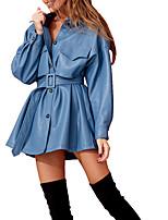 cheap -Women's Sheath Dress Short Mini Dress - Long Sleeve Solid Color Patchwork Fall Winter Elegant Sexy 2020 Black Blue Brown S M L XL