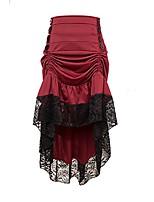 cheap -adjustable ruffle high low gothic skirt plus size steampunk corset skirt long dress (3xl, 02-red)