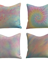 cheap -Cushion Cover 4PC Linen Soft Decorative Square Throw Pillow Cover Cushion Case Pillowcase for Sofa Bedroom 45 x 45 cm (18 x 18 Inch) Tie Dye Superior Quality Mashine Washable