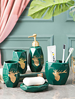 cheap -Bathroom Accessories Set 5 Piece Ceramic Complete Bathroom Set for Bath Decor Includes Toothbrush Holder Soap Dispenser Soap Dish 2 Mouthwash Cup Home and Hotel