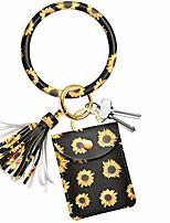 cheap -key ring bracelet card holder - keychain bangle pocket wristlet key chain (sunflower)
