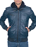 cheap -justin leather bomber jacket for men - detachable hood mens leather jacket