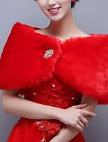 cheap -Half Sleeve Shawls Faux Fur Wedding Women's Wrap With Metal
