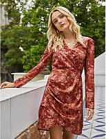 cheap -Women's Sheath Dress Short Mini Dress - Long Sleeve Floral Print Fall Winter V Neck Elegant Vintage Going out 2020 Red S M L XL