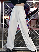 cheap -Women's Sporty Outdoor Loose Daily Pants Tactical Cargo Pants Solid Colored Full Length High Waist White Black