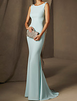 cheap -Mermaid / Trumpet Beautiful Back Sexy Engagement Formal Evening Dress Boat Neck Sleeveless Court Train Stretch Satin with Beading 2020