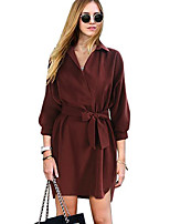 cheap -Women's Sheath Dress Short Mini Dress - Long Sleeve Solid Color Patchwork Fall Casual 2020 Wine Khaki Green S M L XL XXL