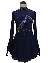 cheap -Figure Skating Dress Women's Girls' Ice Skating Dress Dark Navy Backless Asymmetric Hem Spandex High Elasticity Training Competition Skating Wear Handmade Solid Color Patchwork Crystal / Rhinestone