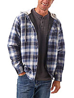 cheap -authentics men's long sleeve quilted lined flannel shirt jacket with hood, vintage night, x-large
