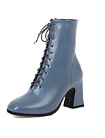 cheap -Women's Boots Block Heel Boots Block Heel Square Toe Booties Ankle Boots Classic Preppy Daily Party & Evening PU Lace-up Solid Colored Black Blue Brown / Booties / Ankle Boots / Booties / Ankle Boots