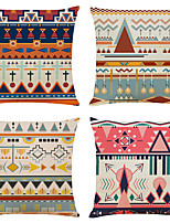 cheap -Set of 4 Bohemian Style Linen Square Decorative Throw Pillow Cases Sofa Cushion Covers 18x18