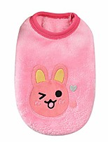 cheap -cartoon print dog vest for dogs cats bunny elephant bear pattern dog pullover flannel pets clothes winter pullover dog clothes for small dogs puppy kitten (xs, pink)
