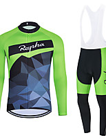 cheap -WECYCLE Men's Women's Long Sleeve Cycling Jersey with Bib Tights Cycling Jersey with Tights Winter Polyester Black Green Black / White Patchwork Bike Clothing Suit Breathable 3D Pad Quick Dry Warm