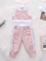 cheap -Toddler Girls' Basic Daily Solid Colored Sleeveless Regular Regular Clothing Set Blushing Pink