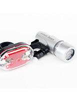 cheap -super bright cycling bicycle light set waterproof front head light + 5 led bicycle rear flashlight safety bike accessories