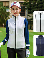 cheap -Women's Golf Vest / Gilet Sleeveless Thermal Warm Lightweight Breathable Sports Outdoor Autumn / Fall Spring Winter Nylon Solid Color White Dark Navy / Stretchy
