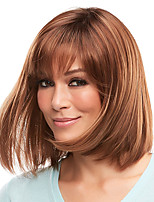 cheap -Synthetic Wig Straight Natural Straight With Bangs Wig Medium Length Dark Brown Synthetic Hair Women's Fashionable Design Classic Exquisite Dark Brown