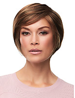 cheap -Synthetic Wig Straight Asymmetrical With Bangs Wig Short Brown Synthetic Hair Women's Fashionable Design Highlighted / Balayage Hair Exquisite Brown