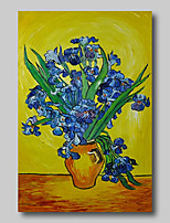 cheap -Oil Painting Hand Painted Van Gogh Abstract Floral / Botanical Comtemporary Modern Stretched Canvas