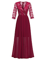 cheap -A-Line Elegant Minimalist Party Wear Formal Evening Dress V Neck 3/4 Length Sleeve Ankle Length Lace with Pleats 2020