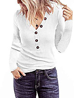 cheap -women's short sleeve v neck ribbed button tops basic solid color tee shirts, longwhite, l