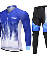 cheap -21Grams Men's Long Sleeve Cycling Jersey with Tights Winter Fleece Blue Bike Fleece Lining Breathable Sports Graphic Mountain Bike MTB Road Bike Cycling Clothing Apparel / Stretchy