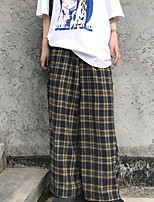 cheap -Women's Sporty Outdoor Cotton Loose Daily Wide Leg Pants Pants Plaid Full Length High Waist Black Yellow