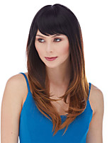 cheap -Synthetic Wig kinky Straight Asymmetrical Wig Long Brown Synthetic Hair 16 inch Women's Fashionable Design Ombre Hair Exquisite Brown