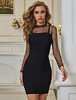 cheap -Women's Sheath Dress Short Mini Dress - Long Sleeve Solid Color Mesh Fall Sexy 2020 Black S M L