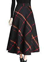 cheap -women's winter warm elastic waist wool plaid a-line pleated long skirt  black  medium