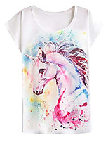 cheap -women's graphic horse print tee short sleeve tops causal pullover cute tee shirt