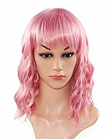 cheap -12inch/30cm curly wavy pink/mixed green/blonde women girl cosplay synthetic wigs (pink)