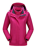 cheap -Women's Hiking Jacket Hiking 3-in-1 Jackets Ski Jacket Summer Winter Outdoor Solid Color Waterproof Windproof Breathable Warm Winter Jacket Top Single Slider Hunting Ski / Snowboard Climbing Dark red