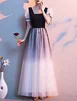 cheap -A-Line Color Block Glittering Wedding Guest Formal Evening Dress Scoop Neck Short Sleeve Floor Length Tulle with Sequin 2020