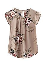 cheap -women's cap sleeve blouse knot back flower print blouse multicolour medium