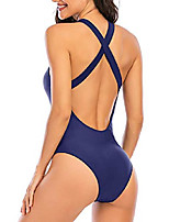 cheap -women's one piece swimsuits for women athletic training swimwear bathing suits for women with crossback strap navy blue 4
