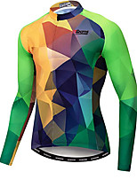cheap -21Grams Men's Long Sleeve Cycling Jacket Winter Fleece Green Bike Jacket Mountain Bike MTB Road Bike Cycling Fleece Lining Breathable Warm Sports Clothing Apparel / Stretchy