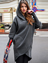 cheap -Women's Spring Coat Long Solid Colored Daily Basic Dark Gray S M / Fall & Winter