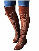 cheap -boots for women,over the knee boots combat style hiking boots motorcycle boots classic lace up low heel shoes retro shoes brown