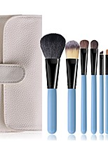 cheap -portable makeup brushes set with natural horse hair bristles cosmetic brushes kit in case bag 7 pieces/set (blue)