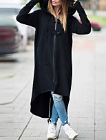 cheap -Women's Fall & Winter Zipper Coat Long Solid Colored Daily Basic Patchwork Black S M L XL / Loose