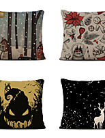 cheap -Set of 4 Linen Pillow Cover Cartoon Traditional Christmas Throw Christmas Hat Snowflake Elk Christmas Gift Pillow 45*45cm
