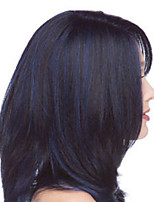 cheap -Synthetic Wig Straight Asymmetrical Wig Medium Length Black / Blue Synthetic Hair Women's Fashionable Design Exquisite Blue