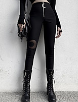 cheap -Women's Basic Breathable Slim Daily Tights Pants Print Full Length High Waist Black
