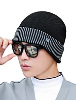 cheap -Men's Hiking Cap Beanie Hat 1 PCS Winter Outdoor Windproof Warm Soft Thick Skull Cap Beanie Solid Color Woolen Cloth Black Burgundy Grey for Fishing Climbing Running