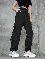 cheap -Women's Basic Comfort Cotton Slim Casual Pants Tactical Cargo Pants Solid Colored Full Length Pocket High Waist Black Blue