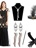 cheap -Mermaid / Trumpet Elegant Vintage Party Wear Formal Evening Dress V Neck Short Sleeve Floor Length Spandex with Pleats Sequin 2020