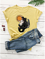 cheap -Women's T-shirt Graphic Prints Print Round Neck Tops 100% Cotton Basic Basic Top White Black Purple